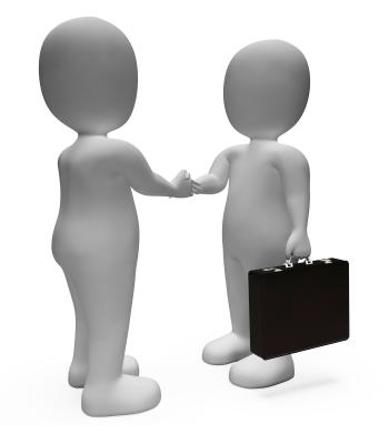 Handshake Businessmen Shows Deal Illustration And Contract 3d Renderin