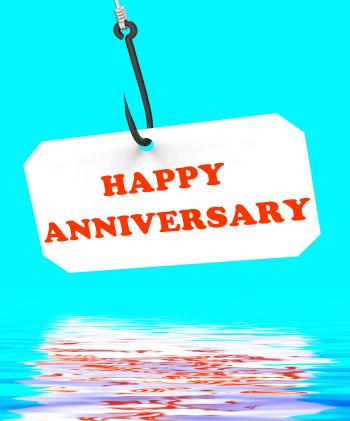Happy Anniversary On Hook Displays Romantic Celebration Or Remembrance