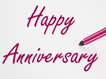 Happy Anniversary On Whiteboard Shows Romantic Celebration Or Greeting