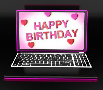 Happy Birthday Message On Computer Shows Internet Greeting
