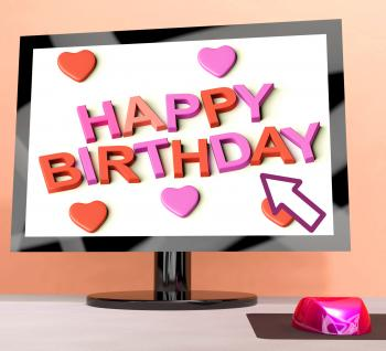 Happy Birthday On Computer Screen Showing Online Greeting