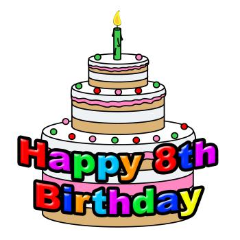 Happy Eighth Birthday Indicates Celebration Party And Greetings