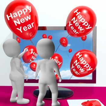 Happy New Year Balloons Show Online Celebration and Invitations