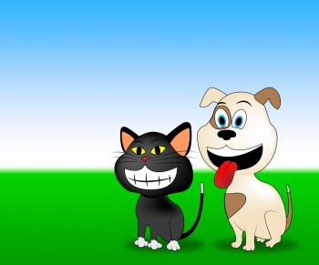 Happy Pets Shows Domestic Animal And Countryside