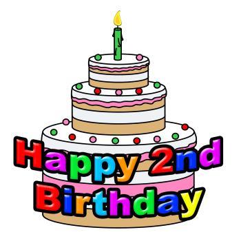 Happy Second Birthday Indicates Congratulating Celebration And Greetin