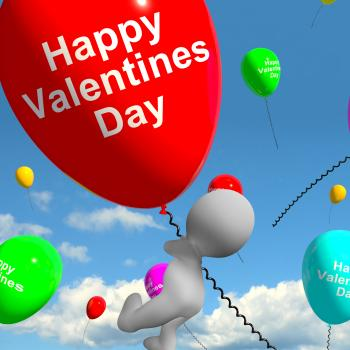 Happy Valentines Day Balloons Showing Love And Affection