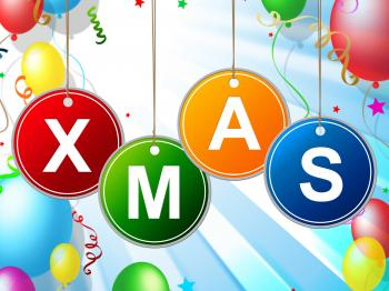 Happy Xmas Indicates Christmas Greeting And Celebrate