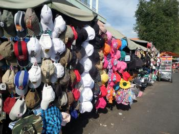 Hat stalls at market