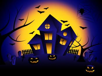 Haunted House Means Trick Or Treat And Autumn