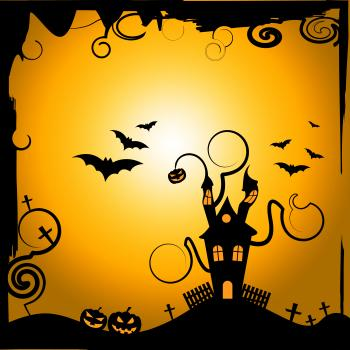 Haunted House Shows Trick Or Treat And Astronomy