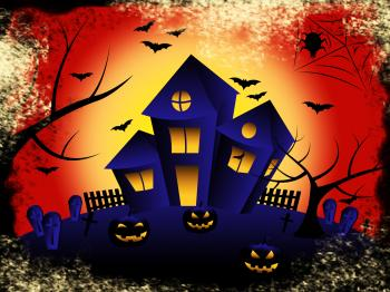 Haunted House Shows Trick Or Treat And Celebration