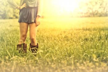 Hazy Vintage Looks - Country Girl on the Grass - With Copyspace