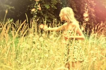 Hazy Vintage Looks - Girl Collecting Flowers