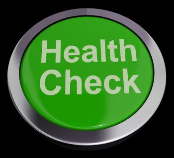 Health Check Button In Green Showing Medical Examination
