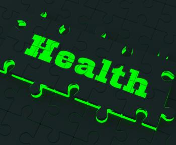 Health Puzzle Shows Healthy Medical Care And Wellbeing