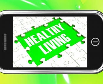 Healthy Living On Smartphone Showing Health Diet