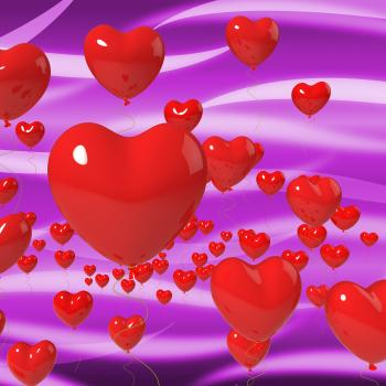 Heart Balloons On Background Means Passionate Marriage Or Beautiful We