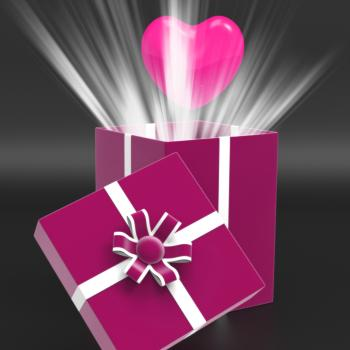 Heart Giftbox Means Valentines Day And Affection