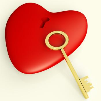 Heart With Key Showing Love and Romance
