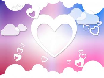 Hearts And Clouds Background Means Romantic Dreams And Feelings