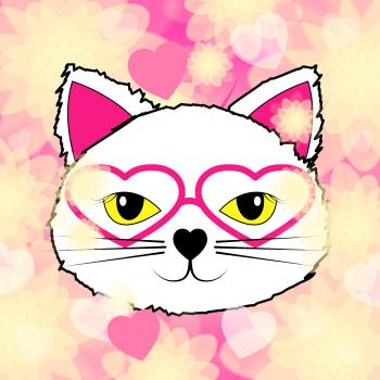 Hearts Cat Represents Valentine Day And Felines