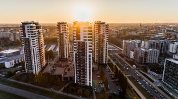 High Angle Photography of High-rise Buildings Near Road during Golden Hour