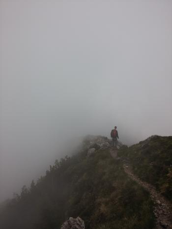 Hiker in the Fog