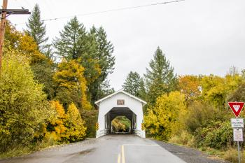 Hoffman Covered Bridge, Oregon, Autumn