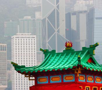 Hong Kong Old Pagoda And Skyscrapers