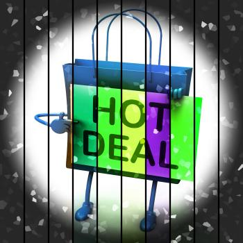 Hot Deal Shopping Bag Represents Bargains and Discounts