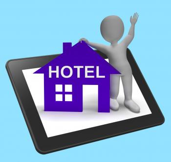 Hotel House Tablet Shows Vacation Accommodation And Rooms