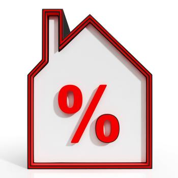 House And Percent Sign Displaying Investment Or Discount