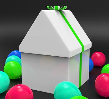 House Giftbox Indicates Surprise Giving And Greeting
