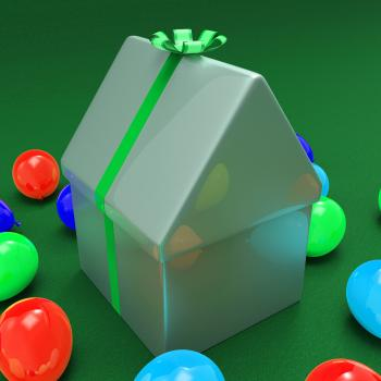 House Giftbox Shows Wrapped Apartment And Package