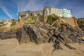 Houses on coast at wales england