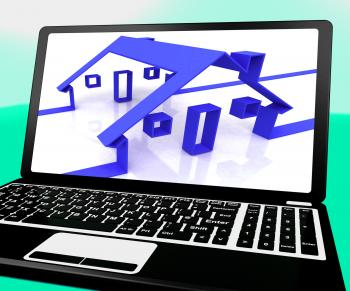 Houses On Laptop Shows Online Real Estates