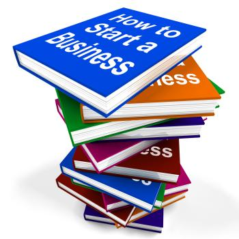 How To Start A Business Book Stack Shows Begin Company Partnership