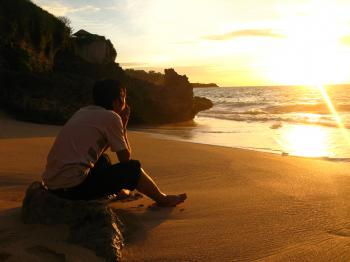 Human And Sunset