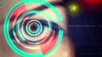 Human eye being scanned on virtual screen - Biometrics concept