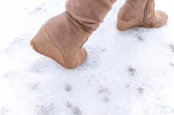 Human Steps on Frosted Ground