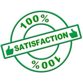 Hundred Percent Satisfaction Indicates Absolute Satisfied And Contentm