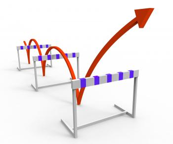 Hurdle Obstacle Shows Overcome Problems And Challenge