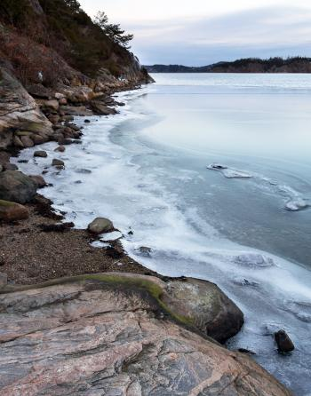 Ice on Gullmarn fjord at Holma boat club 4