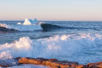 Icebergs along the coast