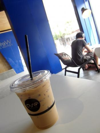 Iced Coffee and Customer in a Cafe