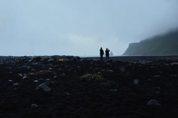 Iceland, black beach in rain