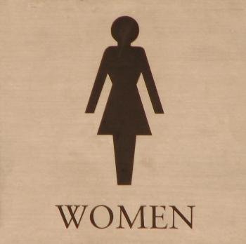 Illustration of a womens restroom sign