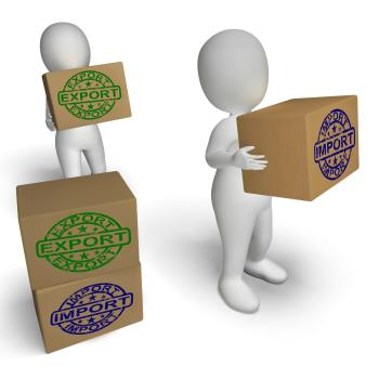 Import Export Boxes Show International Trade Importing And Exporting