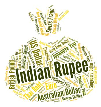 Indian Rupee Shows Currency Exchange And Currencies