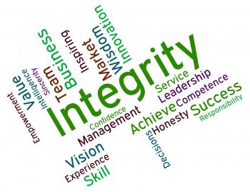 Integrity Words Shows Virtue Text And Honesty